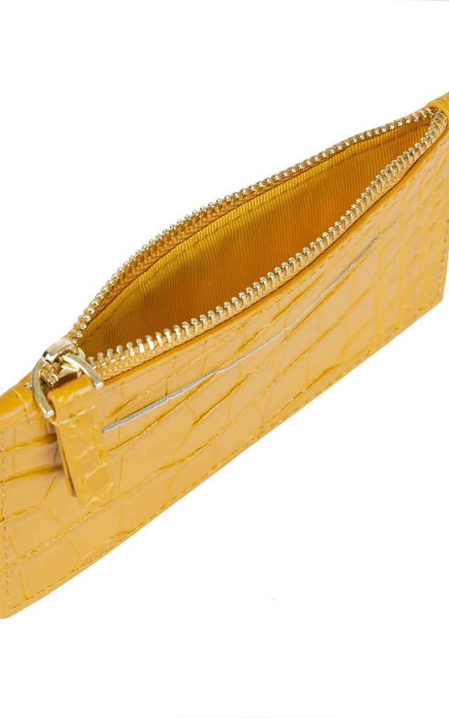 St Germain Cardholder in Mustard Croc by Azurina