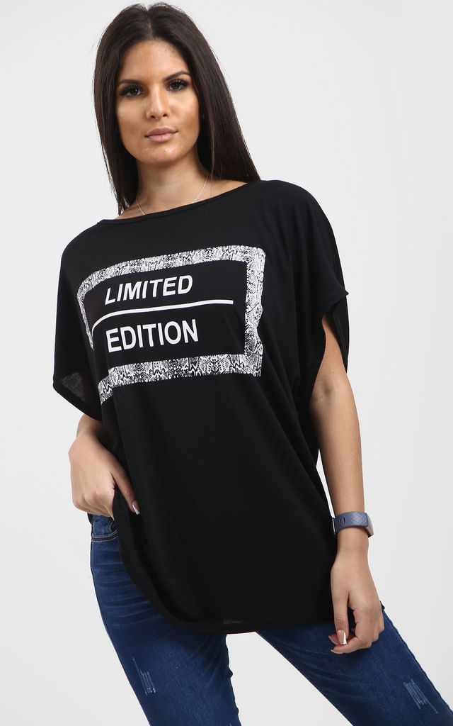 Sofia Batwing Slogan Printed T Shirt In Black by Oops Fashion