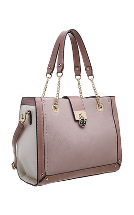 RING CHAIN HANDLE SHOULDER BAG in PINK by BESSIE LONDON