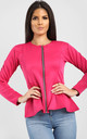 Orla Peplum Frill Long Sleeve Blazer Jacket in Cerise by Oops Fashion