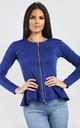 Orla Peplum Frill Long Sleeve Blazer Jacket in Royal Blue by Oops Fashion