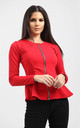 Orla Peplum Frill Long Sleeve Blazer Jacket in Red by Oops Fashion