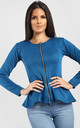 Orla Peplum Frill Long Sleeve Blazer Jacket in Teal by Oops Fashion