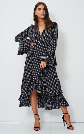 Jenniya Long Sleeve Midi Dress in Black Polka Dot by love frontrow