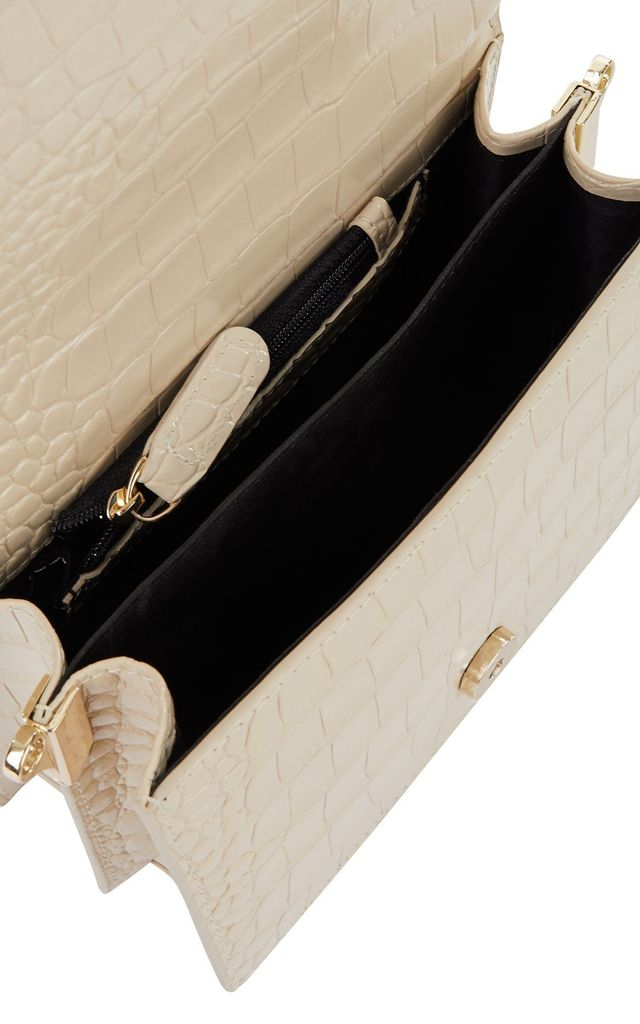 Venice Crossbody Bag in Cream Croc by Azurina