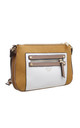 DOUBLE ZIP POCKET CROSSBODY BAG IN YELLOW/THREE TONE by BESSIE LONDON