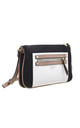 DOUBLE ZIP POCKET CROSSBODY BAG IN BLACK/THREE TONE by BESSIE LONDON