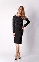 Pencil Midi Dress with Long Sleeves in Black by By Ooh La La
