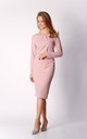 Pencil Midi Dress with Long Sleeves in Pink by By Ooh La La