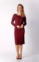 Pencil Midi Dress with Long Sleeves in Maroon by By Ooh La La
