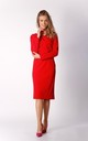 Pencil Midi Dress with Long Sleeves in Red by By Ooh La La