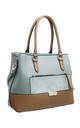 CROC PRINT FRONT POCKET TOTE BAG IN BLUE by BESSIE LONDON