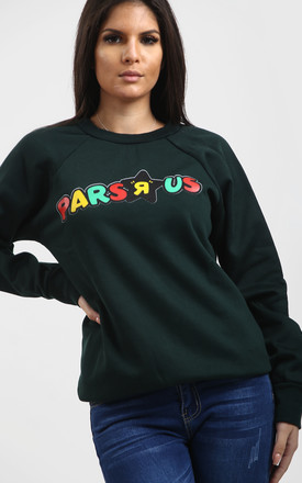 Tia Bottle Green Sweatshirt with Slogan by Oops Fashion