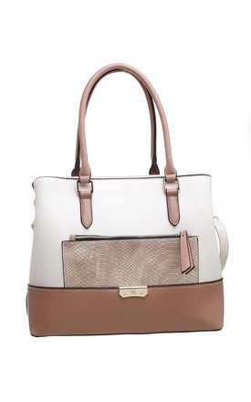 CROC PRINT FRONT POCKET TOTE BAG IN BEIGE by BESSIE LONDON