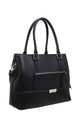 CROC PRINT FRONT POCKET TOTE BAG IN BLACK by BESSIE LONDON