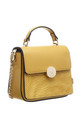 CROC PRINT FLAP OVER TOP HANDLE BAG IN YELLOW by BESSIE LONDON