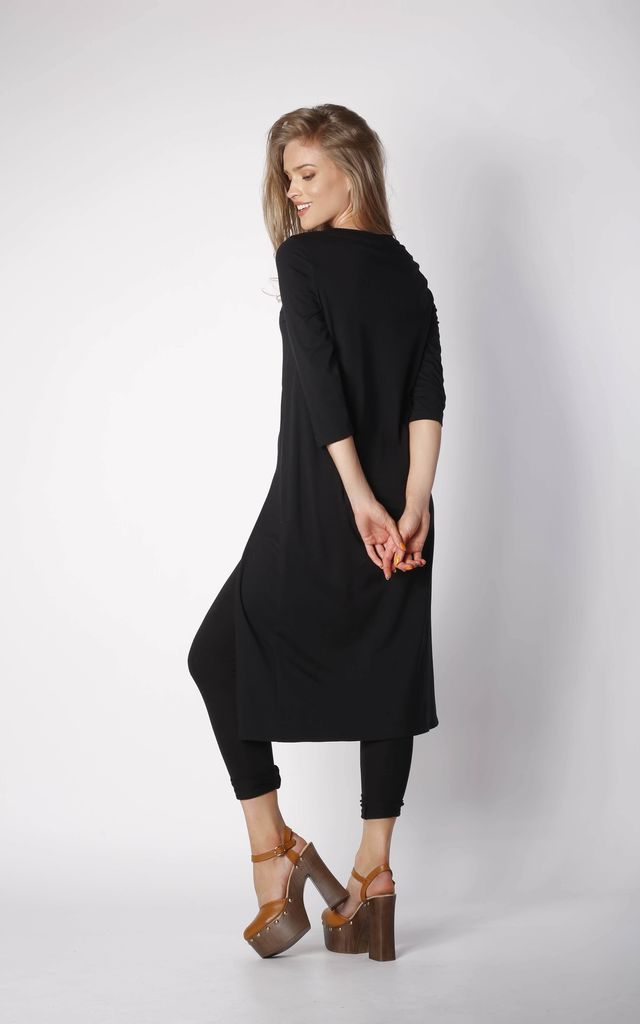 Asymmetric Tunic Top with Zip in Black by By Ooh La La