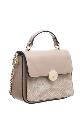 CROC PRINT FLAP OVER TOP HANDLE BAG KHAKI by BESSIE LONDON