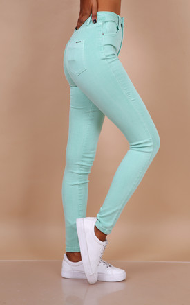 Toxik Jeans in Aqua/Mint Green High Waisted Skinny Stretch by Azzediari Clothing