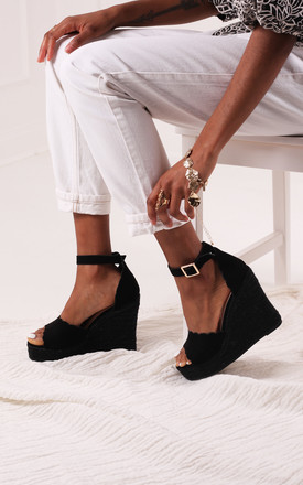 Cherish Black Suede Platform Wedges by Linzi