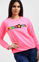Tia Neon Pink Sweatshirt with Slogan by Oops Fashion