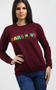 Tia Wine Red Sweatshirt with Slogan by Oops Fashion
