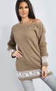 Emma Camel/White Chunky Knit Jumper with Aztec Print by Oops Fashion