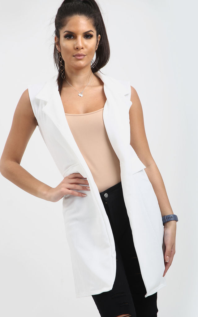 Francesca Open Front Sleeveless Jacket In Cream by Oops Fashion