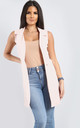 Francesca Open Front Sleeveless Jacket In Nude by Oops Fashion