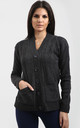 Eliza Long Sleeve Knitted Cardigan In Charcoal by Oops Fashion