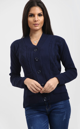 Eliza Long Sleeve Knitted Cardigan In Navy by Oops Fashion