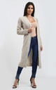 Emilia Open Front Check Board Cardigan In Stone by Oops Fashion