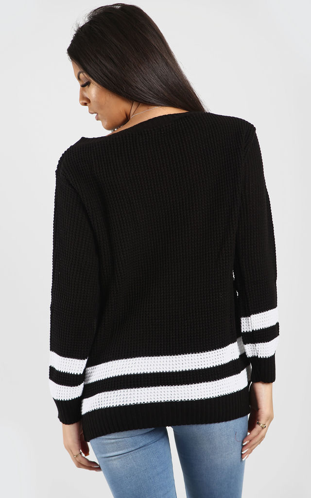 Elsa Black Off Shoulder Jumper with Stripes by Oops Fashion