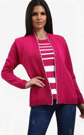 Heidi 2-in-1 Striped Jumper In Fuchsia by Oops Fashion