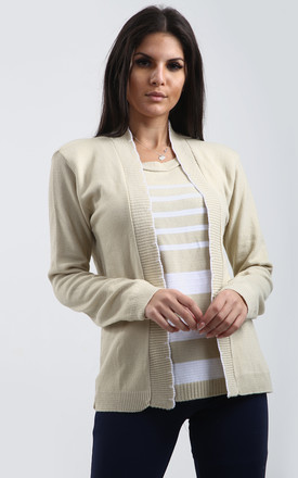 Heidi 2-in-1 Striped Jumper In Stone by Oops Fashion