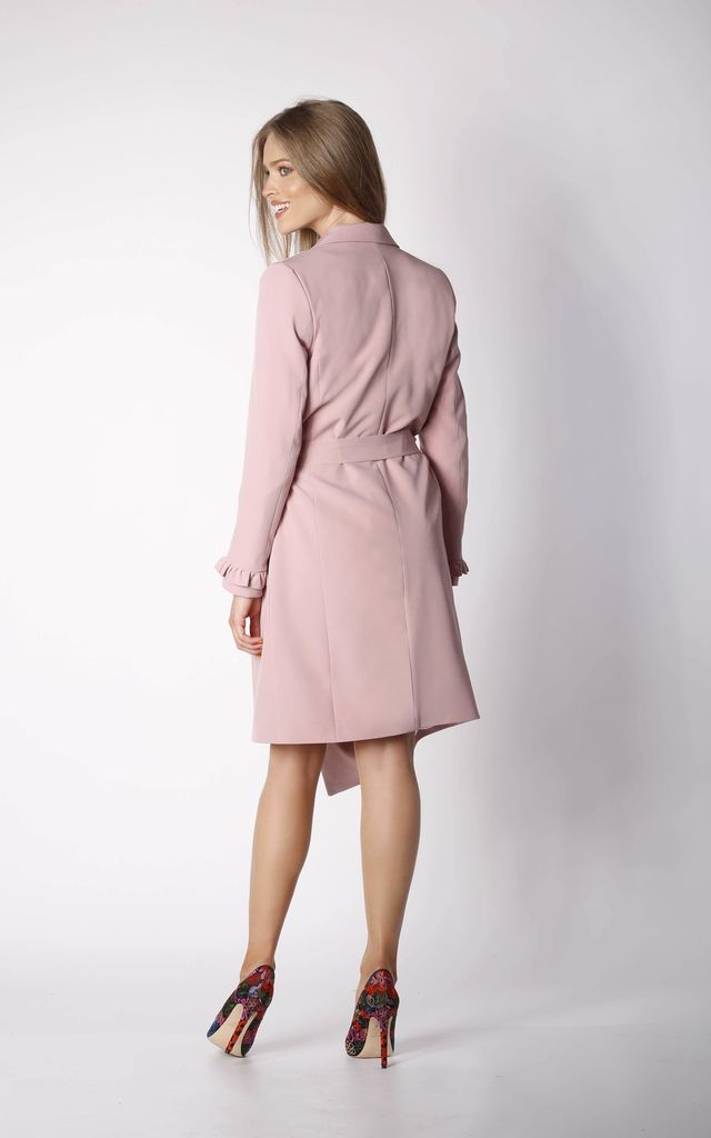Coat with Frill Sleeves in Pink by By Ooh La La