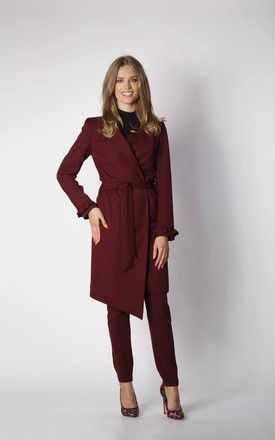 Coat with Frill Sleeves in Maroon by By Ooh La La