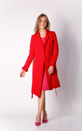 Coat with Frill Sleeves in Red by By Ooh La La
