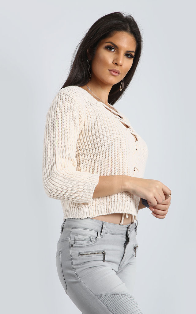 Vanessa Lace Up Cropped Jumper in Cream by Oops Fashion