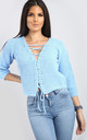 Vanessa Jumper Lace Up Crop in Powder Blue by Oops Fashion