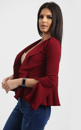 Terrie Frill Sleeve Open Front Blazer In Wine by Oops Fashion
