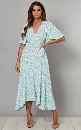 Bobbie Angel Sleeve Wrap Midi Dress In Blue Mint Floral Print by Blue Vanilla Product photo