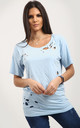 Clara Rose Oversized Ripped TShirt In Powder Blue by Oops Fashion