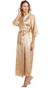 Gold Long Satin Dressing Gown by BB Lingerie