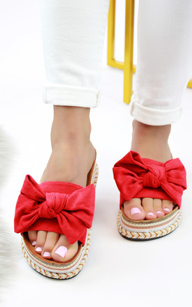 Red Bow Embellished Slider Sandals by Larena Fashion