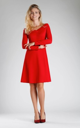 Off Shoulder A-Line Dress in Red by By Ooh La La
