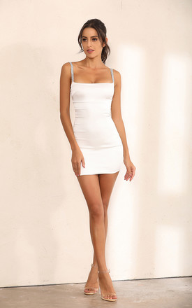 White Satin Bodycon Mini Dress With Shimmer Embellishments by Miss Floral Product photo