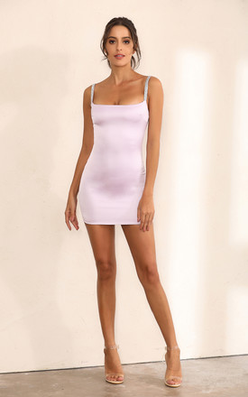 Purple Satin Bodycon Mini Dress With Shimmer Embellishments by Miss Floral Product photo