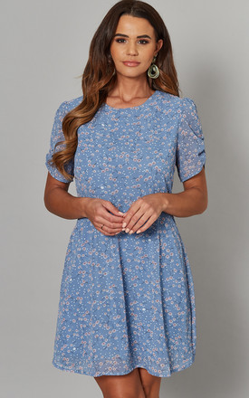 Amna Ruched Sleeve Tea Dress In Blue Dotty Print by Blue Vanilla Product photo