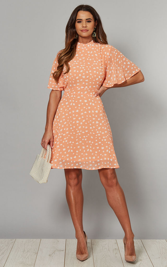 SAFAA Angel Sleeve Fit & Flare Dress in Orange Print by Blue Vanilla